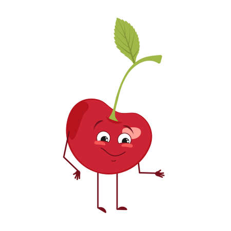 Cute cherry character with joy emotions, smiling face, happy eyes, arms and legs. A mischievous vitamin berry hero with eyes. Joyful food