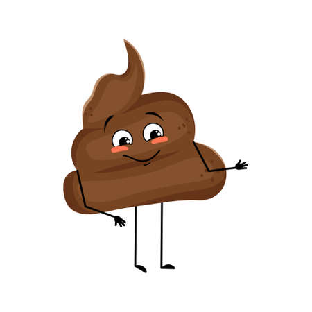 Cute shit character with joy emotions, smile face, happy eyes, arms and legs. A mischievous turd with eyes. Vector flat illustration Vektorové ilustrace