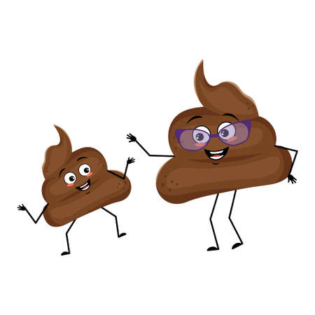 Cute shit characters with happy emotions and smile face. Funny grandmother with glasses and dancing grandson with arms and legs. The joyful turd with eyes. Vector illustration