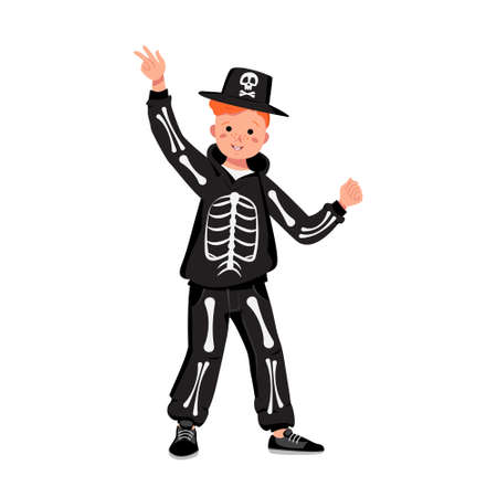 Child in a skeleton costume with bones for the holiday Halloween. Boy in fancy dress and hat with a skull. Kid dancing in a carnival manner Vector Illustration