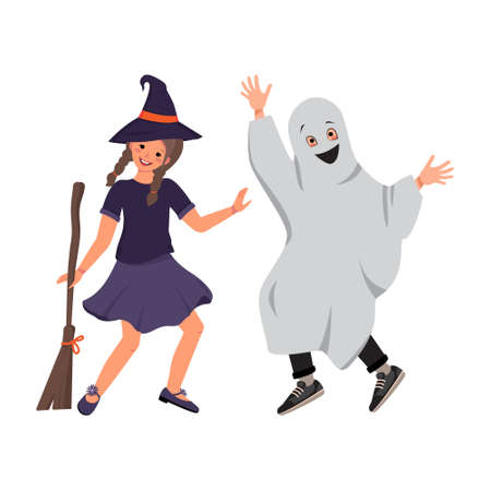 A girl in a witch costume in a hat and a broom and a boy in ghost clothes from a sheet with a smile and eyes on the Halloween holiday. Child in a fancy dress. Kids dancing in a carnival manner