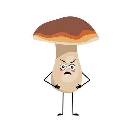 Cute mushroom character with angry emotions, grumpy face, furious eyes, arms and legs. A funny healthy wholesome food, forest plant