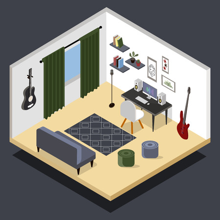 Vector isometric home music recording studio with related equipment.