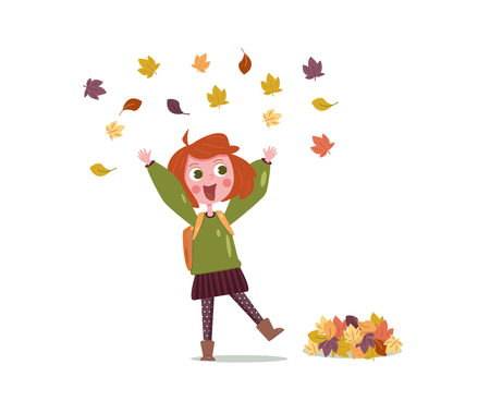 Happy girl in autumn throws leaves. illustration