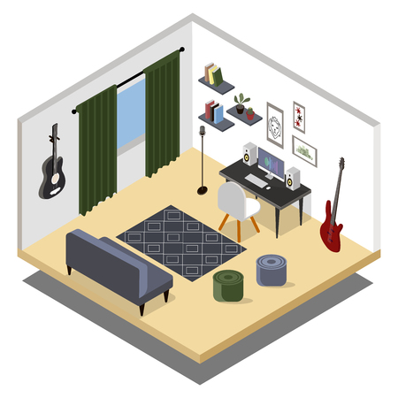 Isometric musicians room. Isometric home music recording studio with related equipment