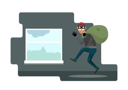 Funny thief character. Vector illustration. Bandit with bag. The robber in the mask comes out through the window. Illustration