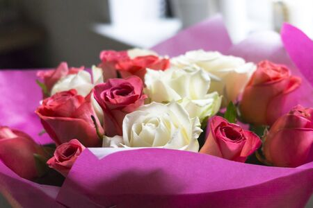 Beautiful bouquet of white and bright pink roses