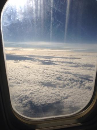 飛行機から見た雲景観 写真素材