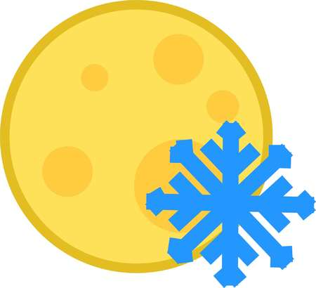 vector icon weather cold night full moon