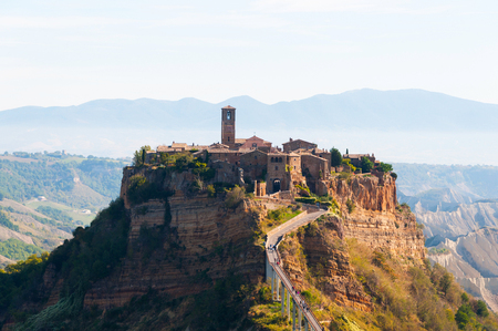 Beautiful panoramic view of the famous Civita di Bagnoregio, Lazio, Italy