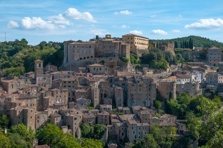 Beautiful classic panoramic view of the ancient town of Sorano in autumn, province of Grosseto, southern Tuscany, Italy
