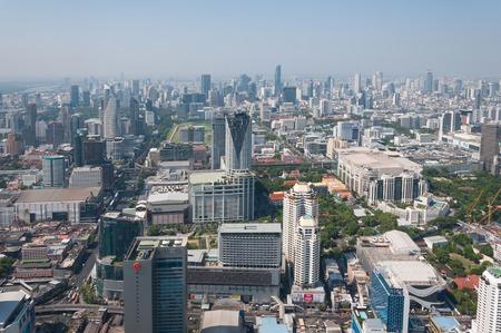 BANGKOK, THAILAND - APRIL 21, 2015: Panoramic aerial view of the Bangkok in a beautiful spring morning. Bangkok,Thailand. Editorial