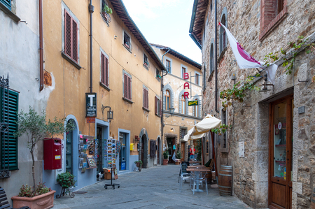 CASTELLINA IN CHIANTI, ITALY - OCTOBER 10,2017: Street view of Castellina in Chianti. A small typical town in Italy. Editorial