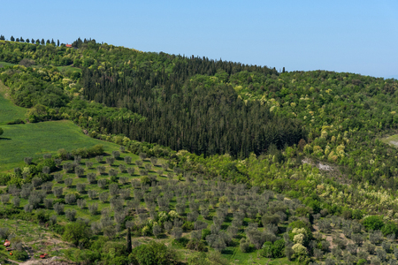 Amazing aerial view of Tuscany from Fortress of Tentennano. Beautiful summer landscape near Castiglione d'Orcia,Tuscany, Italy Stockfoto
