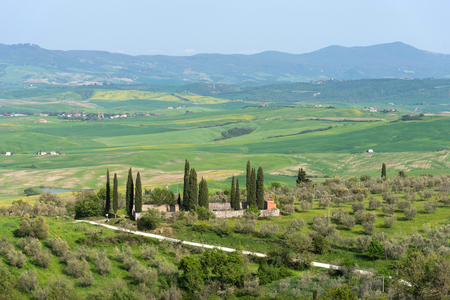 Amazing aerial view of Tuscany from Fortress of Tentennano. Beautiful summer landscape near Castiglione d'Orcia,Tuscany, Italy 免版税图像