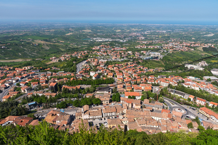 Summer panorama Republic of San Marino and Italy. Amazing aerial view and cityscape. Funicular.