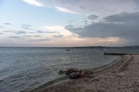 A beautiful sunset over the lake Garda.Italy.