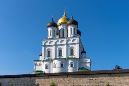 The Trinity Cathedral in Pskov, Russia. Orthodox Church. Part of the architectural ensemble of the Pskov Kremlin (Krom).