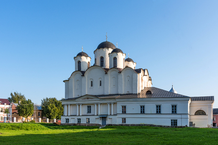 Saint Nicholas Cathedral on Yaroslavs Court in Veliky Novgorod, Russia. Summer sunny day.