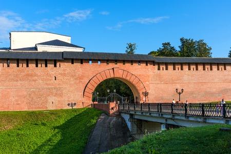 Veliky Novgorod, Russia - August 31, 2018: Main entrance to Novgorod Kremlin, Veliky Novgorod, Russia