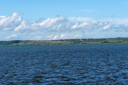 Summer view of Lake Pleshcheyevo, sunny summer day. Blue sky. Pereslavl-Zalessky, Yaroslavl region, Russia. Golden Ring of Russia .