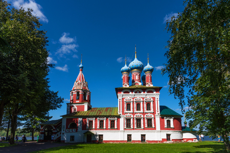 Beautiful Orthodox Church on the banks of the Volga, Kremlin Uglich, Russia. The gem of Russian medieval architecture.