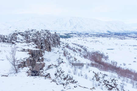 Picturesque winter landscape view of Thingvellir in Iceland. Aereal winter landscape view of Thingvellir National Park in Iceland.