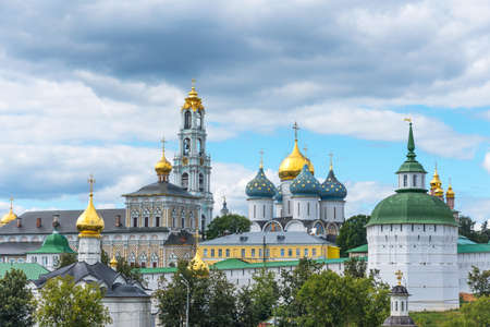 Scenic panoramic summer view of the most important Russian monastery and the spiritual center of the Russian Orthodox Church. The largest monastery in Russia.