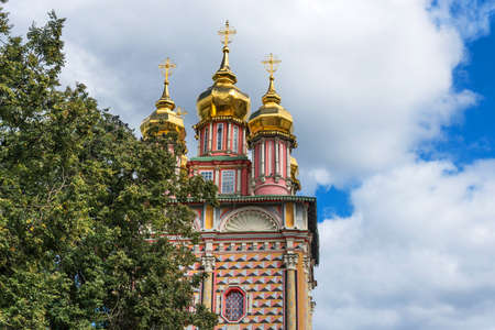 Scenic summer view of Church of the Nativity of John the Baptist in Trinity Lavra of St. Sergius in Sergiyev Posad in Russia. Stock Photo