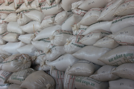 Arrangement with lots of fertilizer sacks in asia. photo