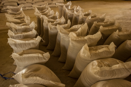 Arrangement with lots of fertilizer sacks in asia.