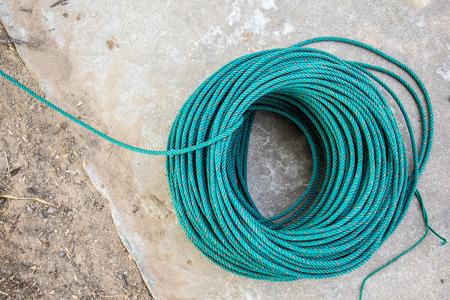 nylon: The Green nylon rope, reel, line, green line, rope, nylon.
