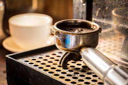 coffee grounds: Coffee, a glass measuring cup, coffee grounds, handles, tables, water, onion, Vintage.