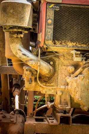 horse pipes: engine of the old model of agricultural tractor