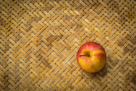 box: Ripe red apples on table close up Stock Photo