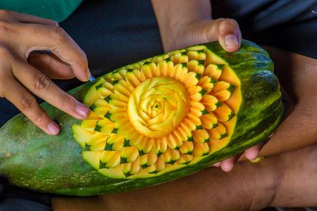 fruit carving art of Thailand for punctilious food