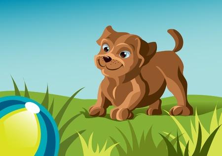 犬の緑の芝生の上にボールをプレー