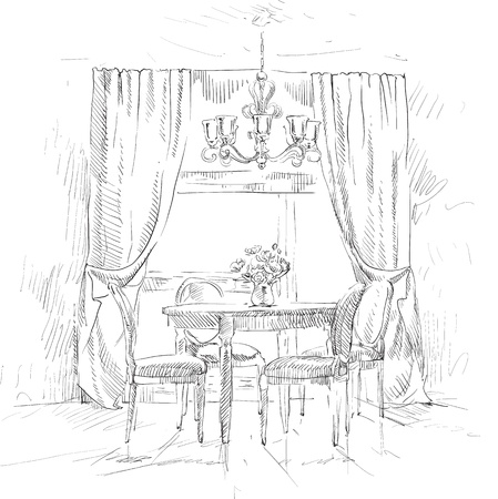living room design: Hand drawing details of the interior