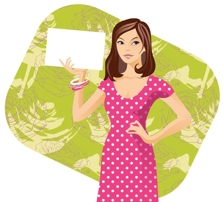 A girl with paper in her hand Vector
