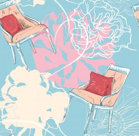 ビンテージ シームレスな花柄  イラスト・ベクター素材