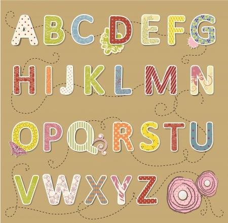 alfabeto: Belleza vector fuente artesanal