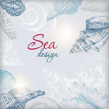 Hand drawing seashells frame card background. Vector illustration. Иллюстрация