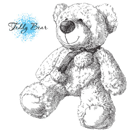 old pen: Beauty hand drawn teddy bear on white