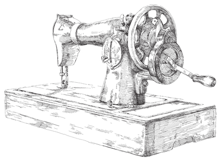 machine shop: Beauty hand drawn sewing machine. Hand-drawn artwork.