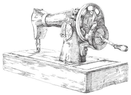 maquinas de coser: Mano dibujada Belleza máquina de coser. Dibujado a mano obras de arte.