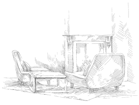 draw a sketch: The drawing of an interior living room