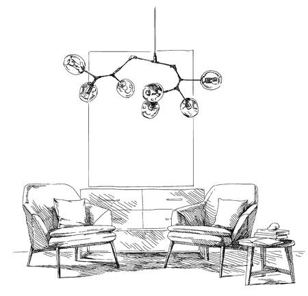 Moderne moderne Interhandzeichnung Vektor-Illustration.