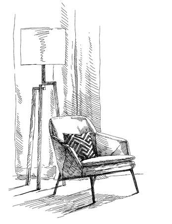 ベクトル図を描く現代のモダンなインテリア手。