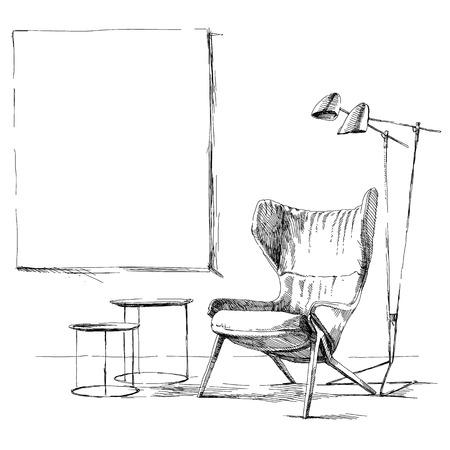 Moderne et contemporain vecteur de dessin illustration de la main intérieure. Banque d'images - 49351943