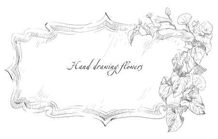 Beauty hand drawn illustration with flowers. Vector.